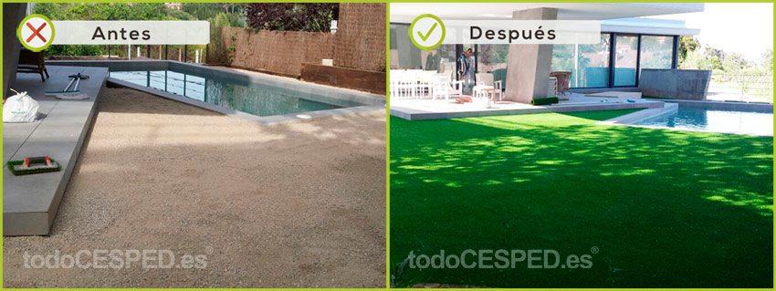 cesped artificial en piscina